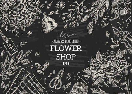 Flower shop. Linear graphic. Top view vintage illustration Ilustração