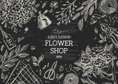 Flower shop. Linear graphic. Top view vintage illustration Illustration