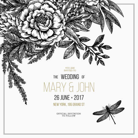 Floral wedding invitation. Stockfoto - 106179519