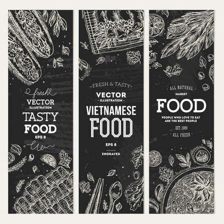 Collection de bannières de cuisine vietnamienne. Graphique linéaire. Illustration vectorielle