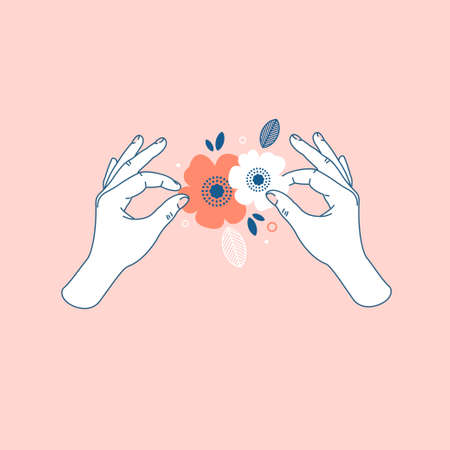 Woman hand holding paper florals. Handmade class. Vector illustration