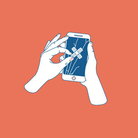Vrouwenhand die gebarsten smartphone proberen te herstellen. Telefoon met gebroken scherm. Telefonische reparatieservice. Vector illustratie