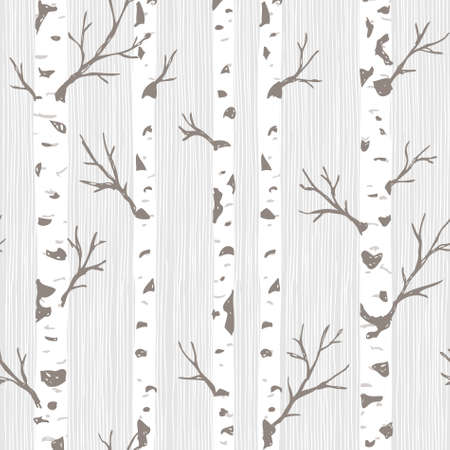 Birch trees seamless pattern. Spring forest background. Vector illustration Banco de Imagens - 106393116