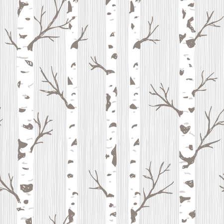 Patrón sin fisuras de árboles de abedul. Fondo de bosque de primavera. Ilustración vectorial Ilustración de vector