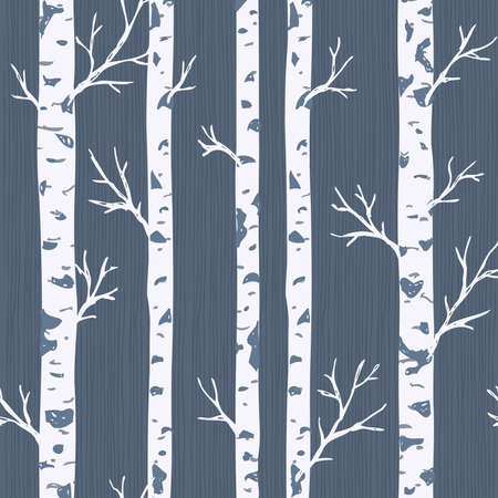 Birch trees seamless pattern. Spring forest background. Vector illustration Zdjęcie Seryjne - 106382730