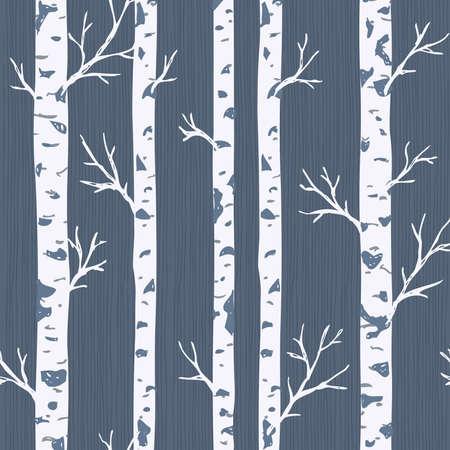 Modèle sans couture de bouleaux. Fond de forêt de printemps. Illustration vectorielle Vecteurs