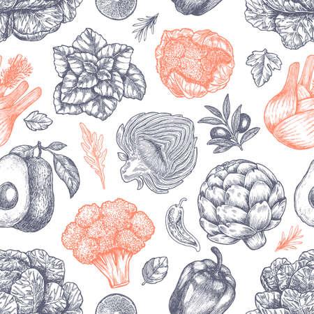 Fresh green vegetables seamless pattern. Handsketched vintage vegetables. Line art illustration. Vector illustration