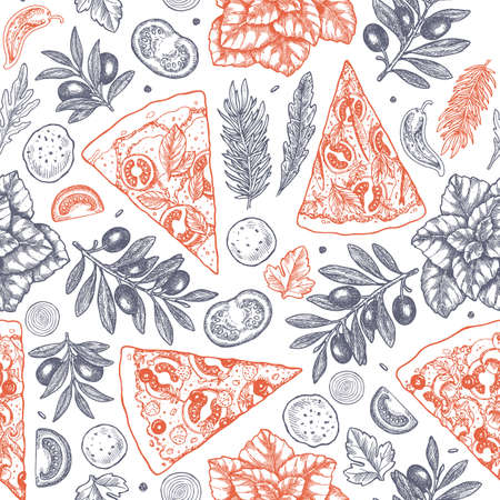 Tasty food background. Linear graphic. Snack collection. Junk food. Engraved seamless pattern. Vector illustration