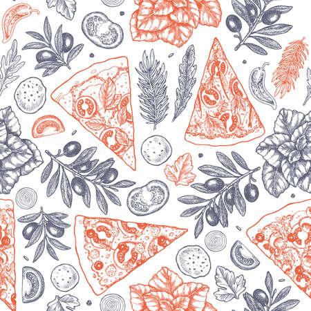 Leckeres Essen Hintergrund. Lineare Grafik. Snack-Sammlung. Junk Food. Graviertes nahtloses Muster. Vektorillustration