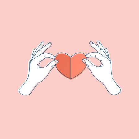 Woman hand holding paper heart. Heart shape. Vector illustration  イラスト・ベクター素材