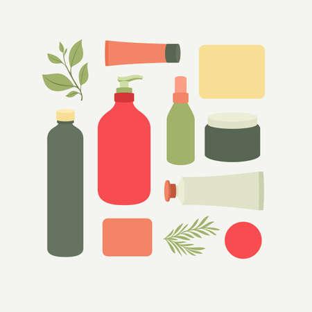 Packaging cosmetico biologico. Collezione di cosmetici. Illustrazione vettoriale Vettoriali