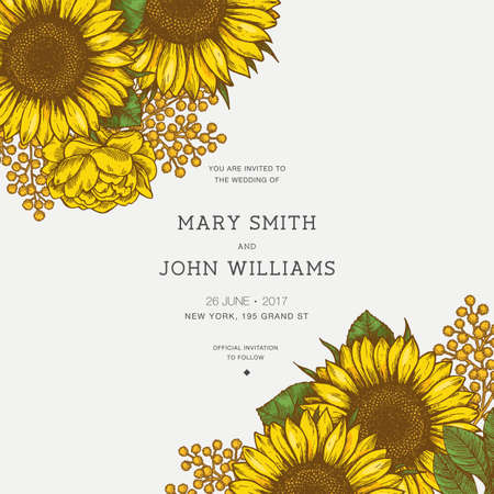 Sunflower vintage wedding invitation. Sunflowers card design. Vector illustration Çizim
