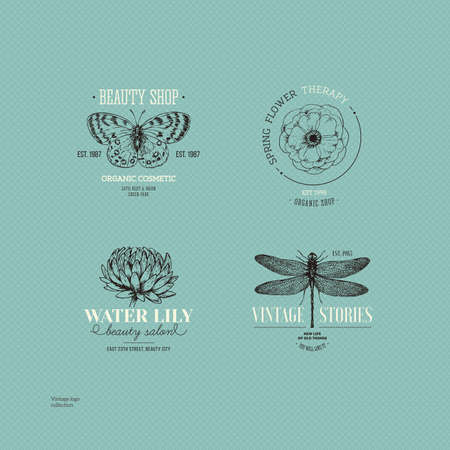 Vintage logo collection. Engraved logo set. Vector illustration
