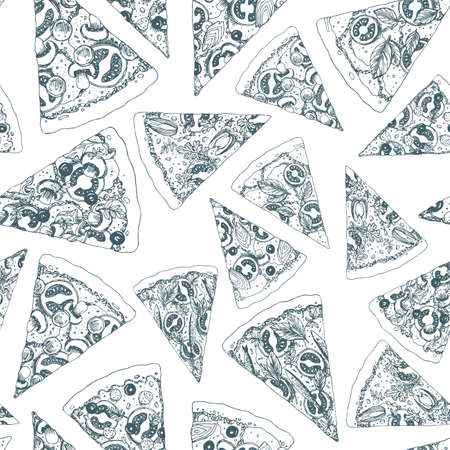Pizza seamless pattern. Pizza background. Vector illustration