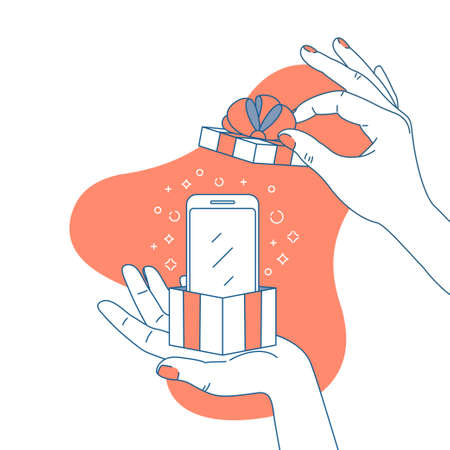 Woman hand holding a gift box with smartphone. Surprise illustration. Shopping. Vector illustration