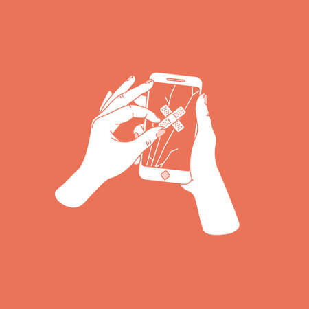 Woman hand trying to repair cracked smartphone with plaster. Phone with broken screen. Phone repair service. Vector illustration