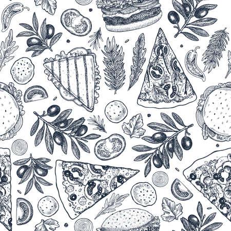 Fondo de comida rápida. Gráfico lineal. Colección de snacks. Comida chatarra. Grabado de patrones sin fisuras. Ilustración vectorial