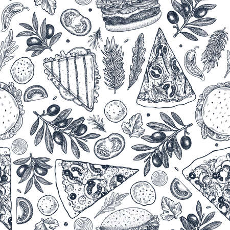 Fast food background. Linear graphic. Snack collection. Junk food. Engraved seamless pattern. Vector illustration