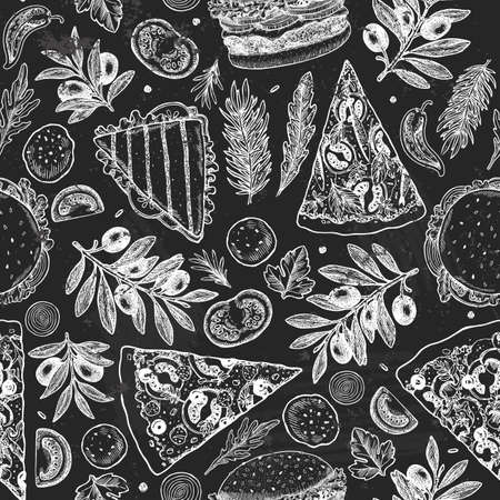 Tasty food chalkboard background. Linear graphic. Snack collection. Junk food. Engraved seamless pattern. Vector illustration Ilustrace