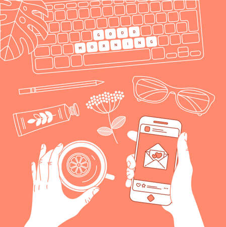 Blogger work table. Personal blog illustration. Woman hand holding smartphone, and cup of tea. Vector illustration Illustration