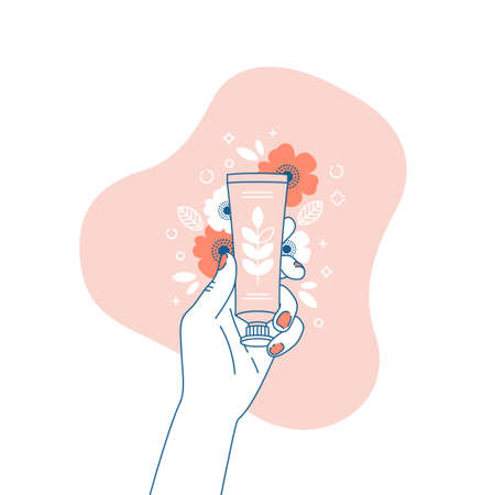 Woman hand holding cream tube. Cosmetics floral illustration. Shopping. Vector illustration