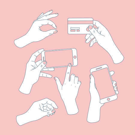 Women set of hands. Hands holding smartphone and credit card. Hand drawing. Vector illustration