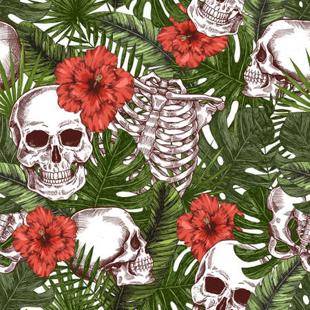 Halloween tropical vintage seamless pattern. Creppy jungle skull background. Human skeleton