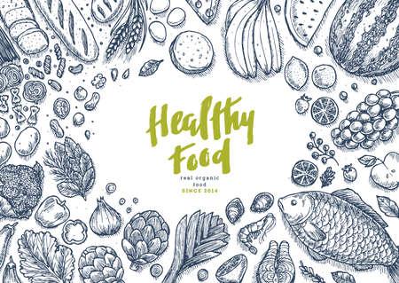 Gesunde Lebensmittelsammlung. Guter Hintergrund der Ernährungstabelle. Lineare Grafik. Heldenbild. Vektorillustration