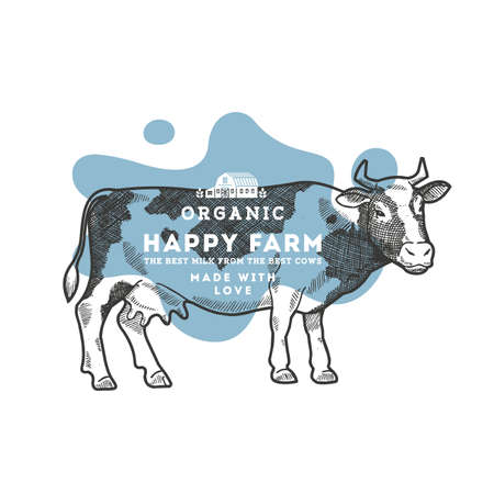 Cow engraved illustration. Linear graphic. Vector illustration
