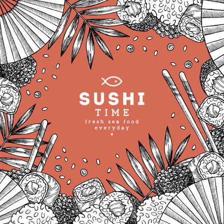 Sushi restaurant design template. Asian food frame.