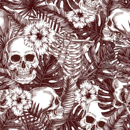 Floral anatomy. Halloween tropical vintage seamless pattern. Creppy jungle skull background. Illustration