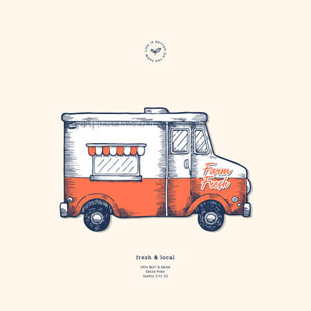Delivery design template. Classic food truck. Vector illustration