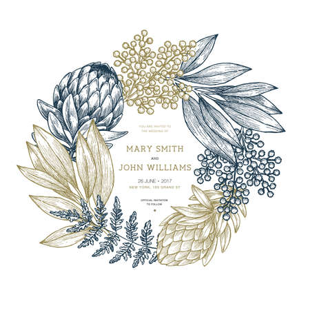 Protea flower wedding invitation. Vintage floral design template. Vector illustration