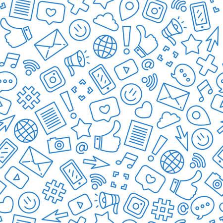 Modèle sans couture minimaliste de médias sociaux. Contexte de messagerie Internet. Illustration vectorielle