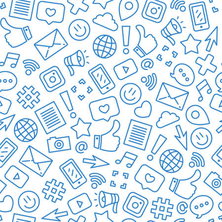 Social media minimalist seamless pattern. Internet messenger background. Vector illustration Reklamní fotografie - 107296039