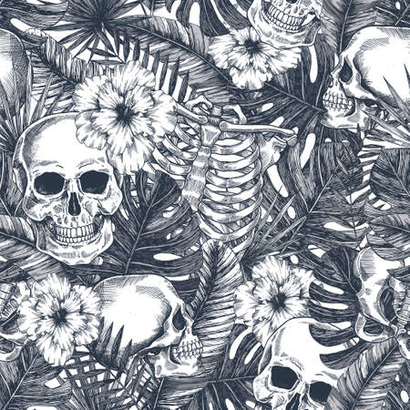 Halloween tropical vintage seamless pattern. Creppy jungle skull background. Floral anatomy