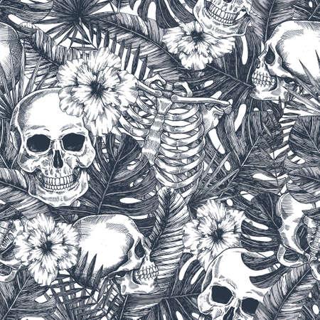 Tropisches Vintage nahtloses Muster des Halloween. Creppy Dschungelschädelhintergrund. Blumenanatomie