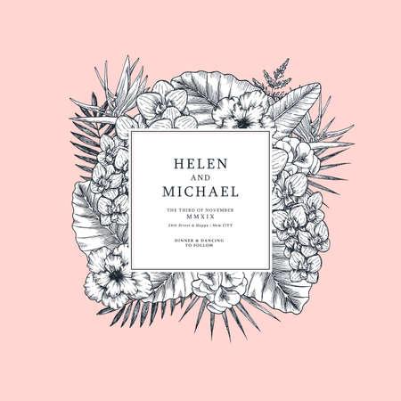 Exotic flowers and leaves. Tropical style design. Elegant wedding invitation template. Vector illustration Vektorgrafik