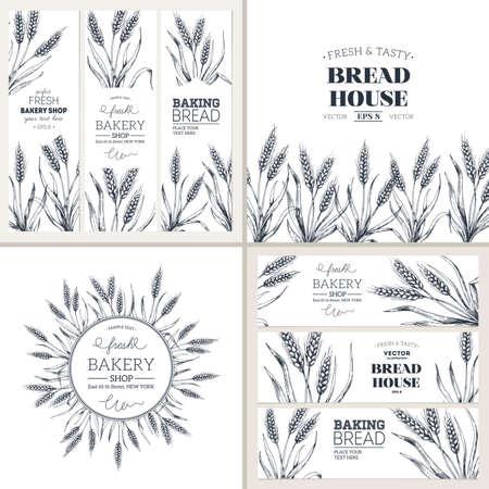 Collection de modèles de conception de pain. Bannières et composition. Conception d'emballage. Illustration vectorielle Vecteurs