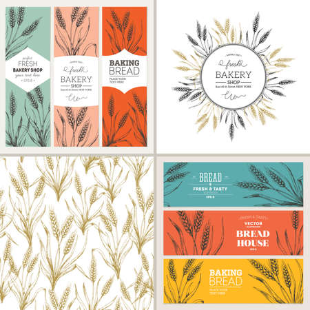 Bread design template collection. Banners, pattern, composition. Vector illustration  イラスト・ベクター素材