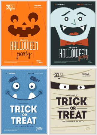 Halloween Party Spaß Poster Sammlung. Halloween Design Vorlage. Vektorillustration Vektorgrafik