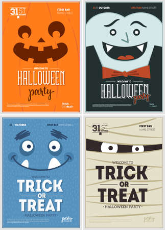 Halloween party fun posters collection. Halloween design template. Vector illustration