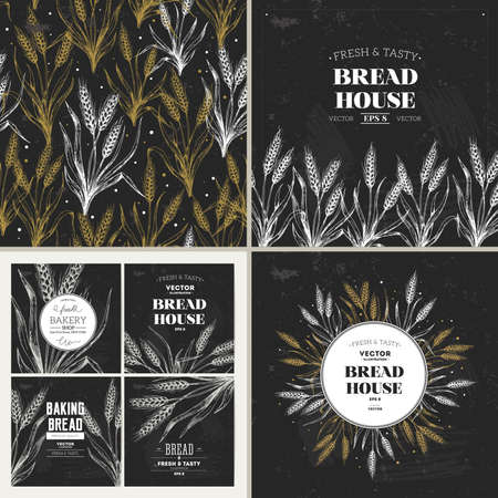 Bread chalkboard design template collection. Banners, pattern, composition. Vector illustration