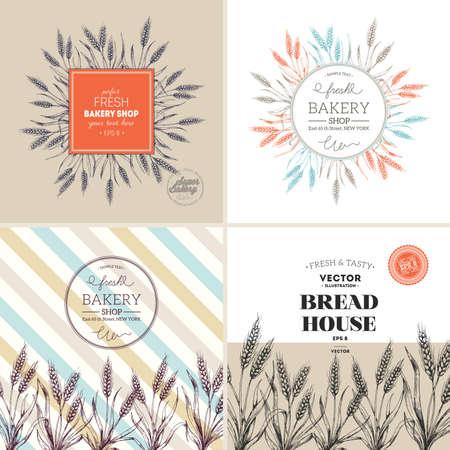 Bread design template collection. Wheat stalk vintage illustration. Vector illustration Vecteurs
