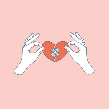 Woman hand holding repaired broken heart. Fixed broken heart. Vector illustration