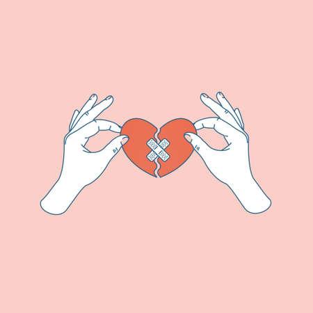 Mano della donna che tiene riparato il cuore spezzato. Risolto il problema con il cuore spezzato. Illustrazione vettoriale Vettoriali