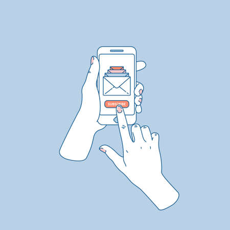 Woman hand holding smartphone. New messages. Subscribe button. Vector illustration