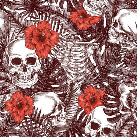 Halloween tropical vintage seamless pattern. Monochrome jungle skull background. Human skeleton Illustration