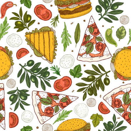 Pizza ingredients seamless pattern. Vintage style colored illustrations. Vector illustration Stock Illustratie