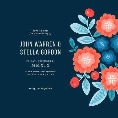 Folk florals wedding invitation. Floral design template.